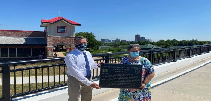 Dedication ceremony held by state and local officials to open the new Christina River Bridge at Wilmington Riverfront